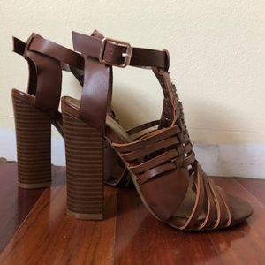 brown leather block heels